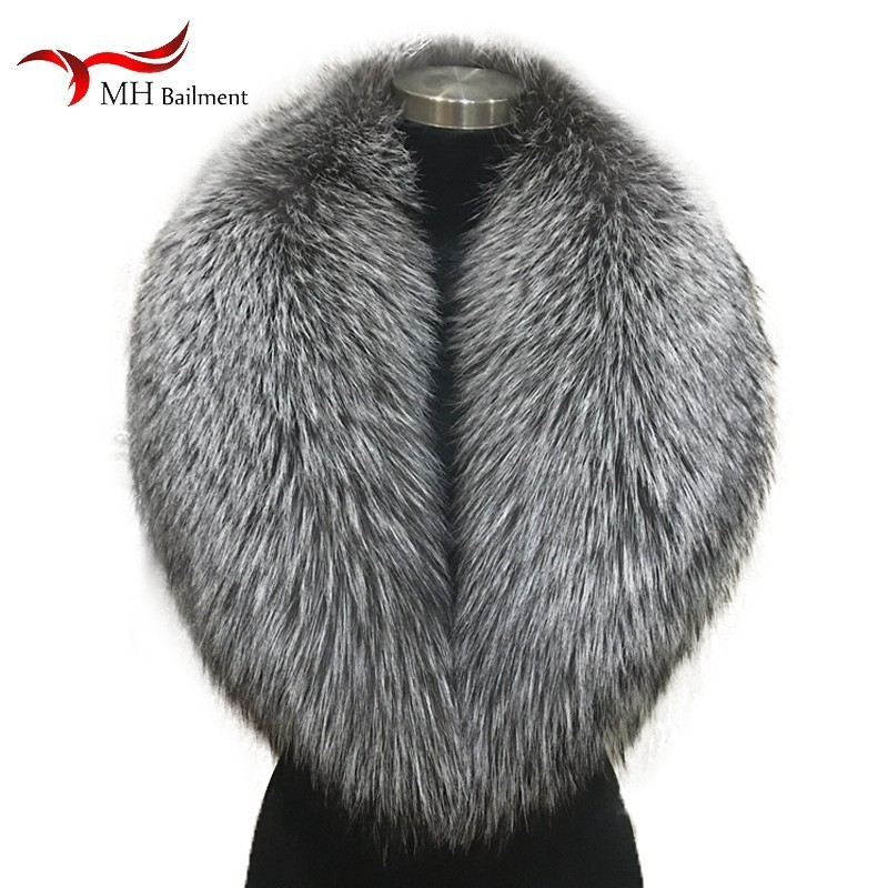 Winter female 100% Silver Fox Fur Collar Full Leather Red Fox Scarf Shawl Real Plush Coat Leather J