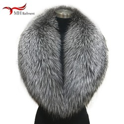 Winter female 100% Silver Fox Fur Collar Full Leather Red Fox Scarf Shawl Real Plush Coat Leather Jacket Fur Collar Scarf women