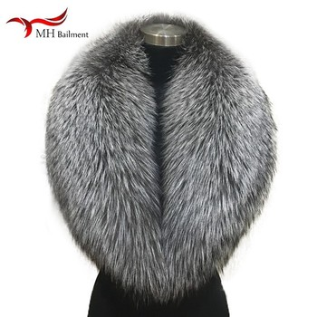 Winter female 100% Silver Fox Fur Collar Full Leather Red Fox Scarf Shawl Real Plush Coat Leather Jacket Fur Collar Scarf women image