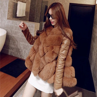 Haisum 2018 winter women's fur fox fur jacket coat fur one fashion fur vest with leather sleeve NV056