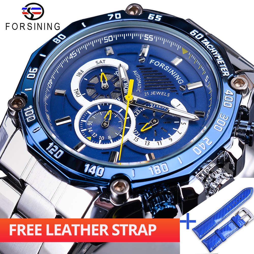 Forsining Watch + Band Set Combination Blue Complete Calendar 3 Sub Dial Silver Stainless Steel Automatic Men Mechanical WatchesForsining Watch + Band Set Combination Blue Complete Calendar 3 Sub Dial Silver Stainless Steel Automatic Men Mechanical Watches