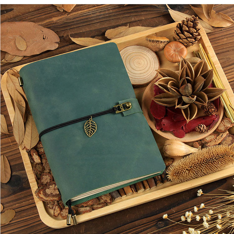 Hot Sale 100% Genuine Cow Leather Cover Traveler's Notebook Diary Journal Vintage Handmade Cute Travel Note Book Pocket 2017 hot sale death note notebook