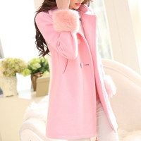 جديد تصميم نيس الربيع/الشتاء النساء الفراء كم طويل الصوف معطف مزدوجة الصدر الأزرق الأحمر الوردي و سترة S2525