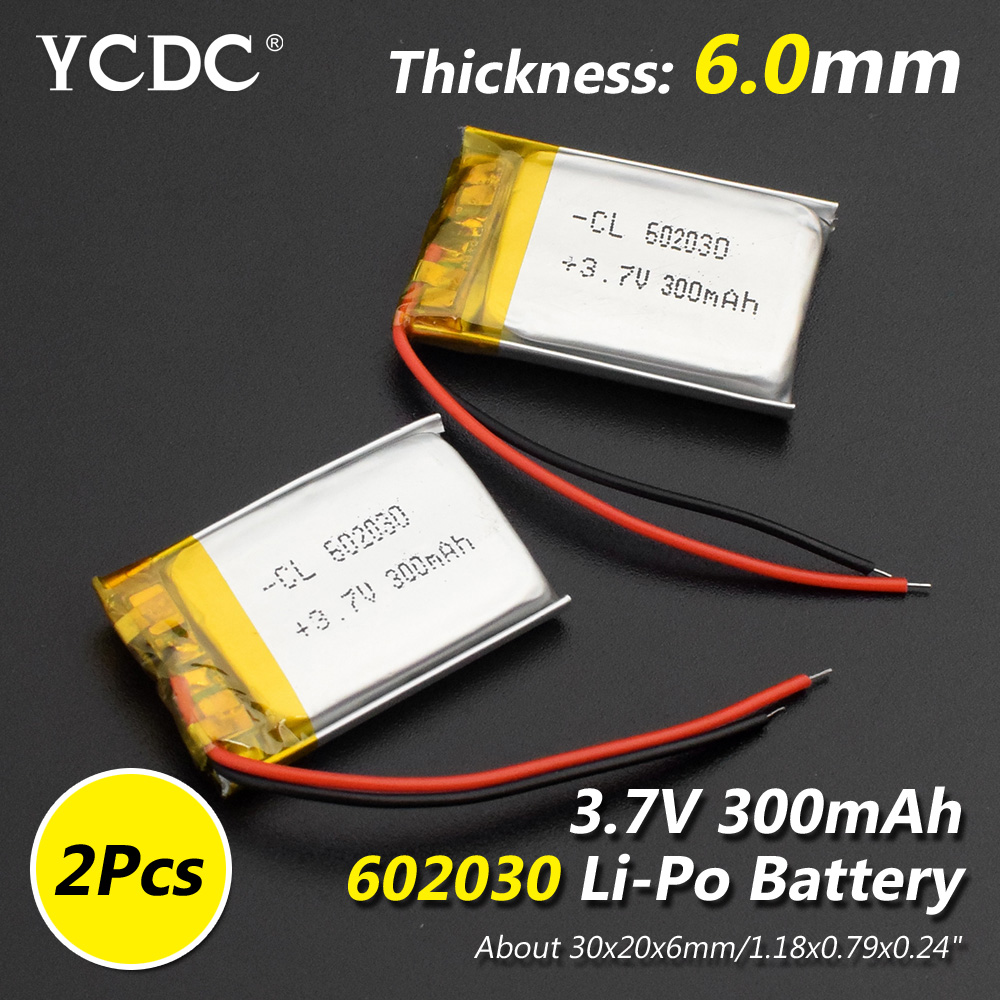 Size 602030 3.7v 300mAh Li-ion Lipo Cells Lithium Li-Po Polymer Rechargeable Battery For Bluetooth Speaker Tachograph Car Camera