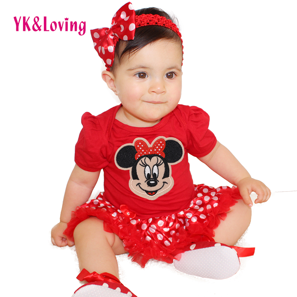 YK&Loving 2Pcs NewBorn Baby Clothes Autumn/Winter Summer Cotton Baby Romper Red Infant Clothes Sets Polka Dot Baby Girls Costume