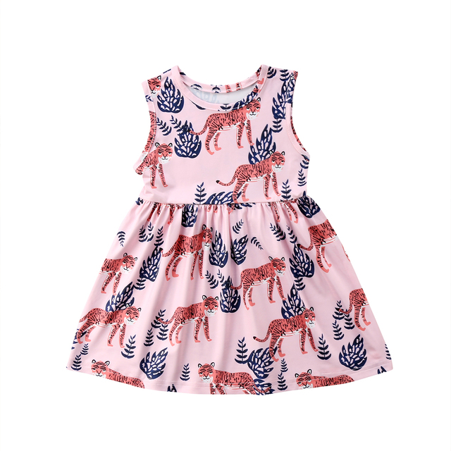 bbbb89be7c Cute Kids Baby Girls Princess Dress Tiger Print 2018 Summer New Sleeveless  Wedding Party Tulle Dress