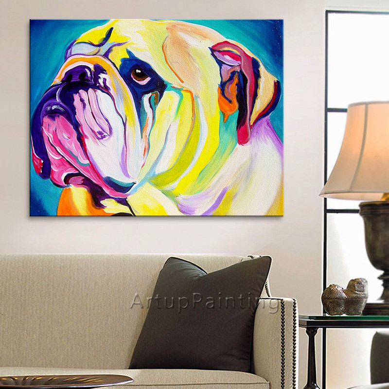 Modern Pop Art Style Apartment: Dog Painting,Pop Art Dog On Canvas Modern Abstract