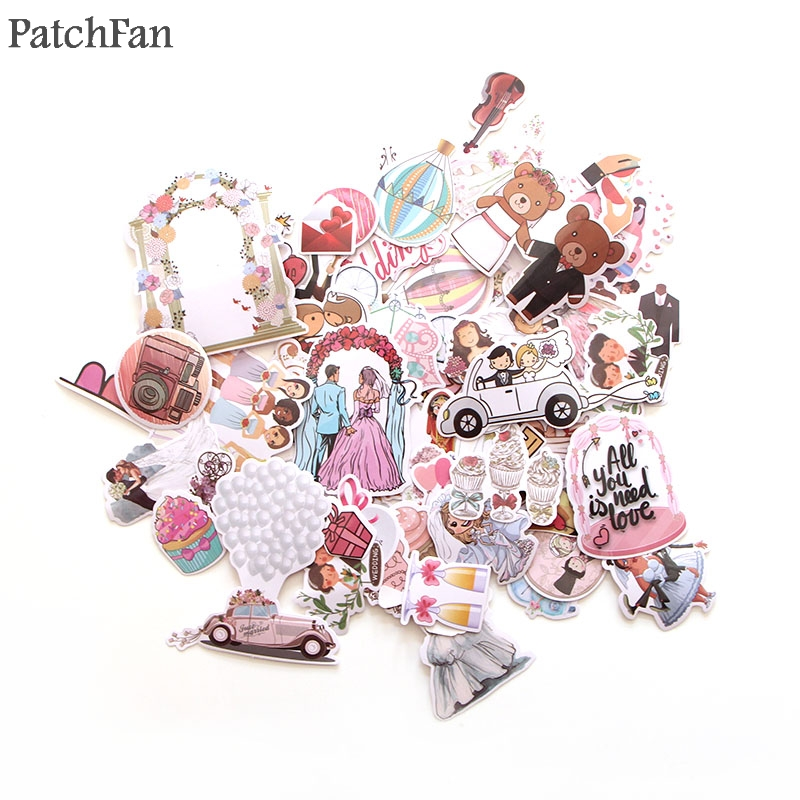 Patchfan 68pcs Wedding Theme Art Print Home Decor Wall Notebook Phone Luggage Laptop Bicycle Scrapbooking Album Stickers A1340