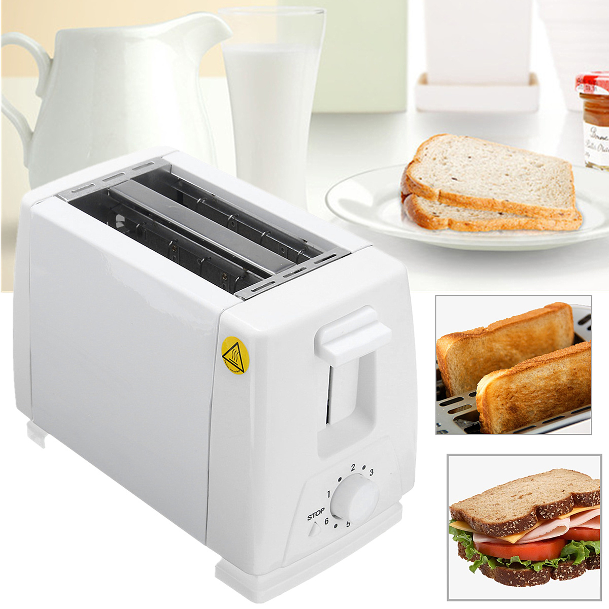 750W EU Plug 2 Slice Slots Stainless Steel  Automatic Electric Bread Toaster Mini Household Breakfast Baking Bread Machine750W EU Plug 2 Slice Slots Stainless Steel  Automatic Electric Bread Toaster Mini Household Breakfast Baking Bread Machine