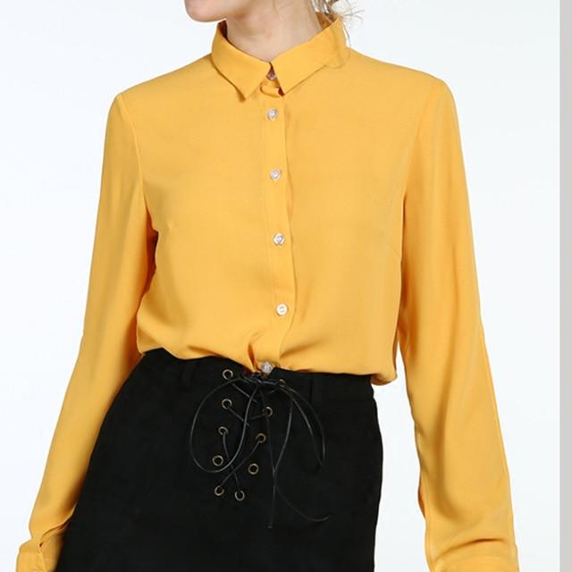 Geel Overhemd.2017 Zomer Nieuwe Vrouwen Overhemd Enkele Breasted Geel Solid