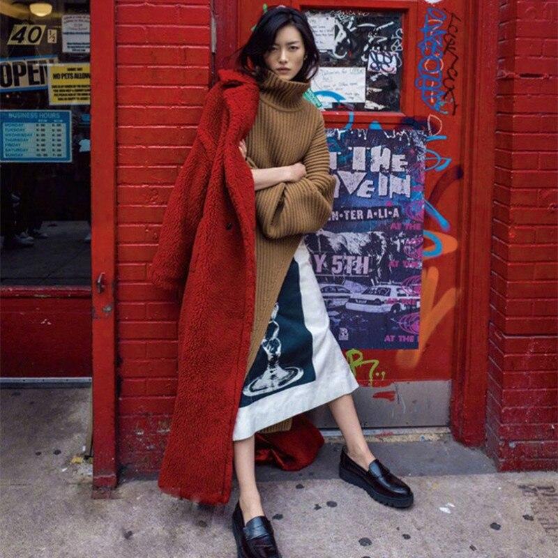 2018 khaki D'hiver Tempérament Sx86 Survêtement Faux Coton Red Agneau Extérieur Section Nouvelles Manteau Fourrure Pzlcxh Chaud Simple Femmes De Veste Longue 4RcqX