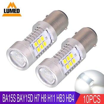 10x BA15S 1156 P21W H7 H8 H11 9005 9006 1157 BAY15d dioda LED 21 SMD 2835 samochodów LED Auto DRL HB3 HB4 światła przeciwmgielne