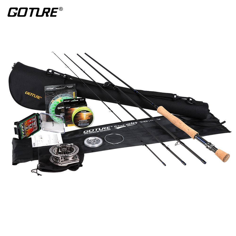 Goture Pesca A Mosca Set canna e mulinello 2.7 M Bluewater Canna Da Mosca, lavorati a CNC In Alluminio Fly Reel 5/6 7/8, principale/Linea di Supporto Dry/Wet Flies