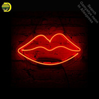 Red Lip Neon Sign Gift Dresser Lipstick Handcrafted Neon Bulbs Sign Glass Tube Iconic Decorate Room Wall Lamp signs Clear board