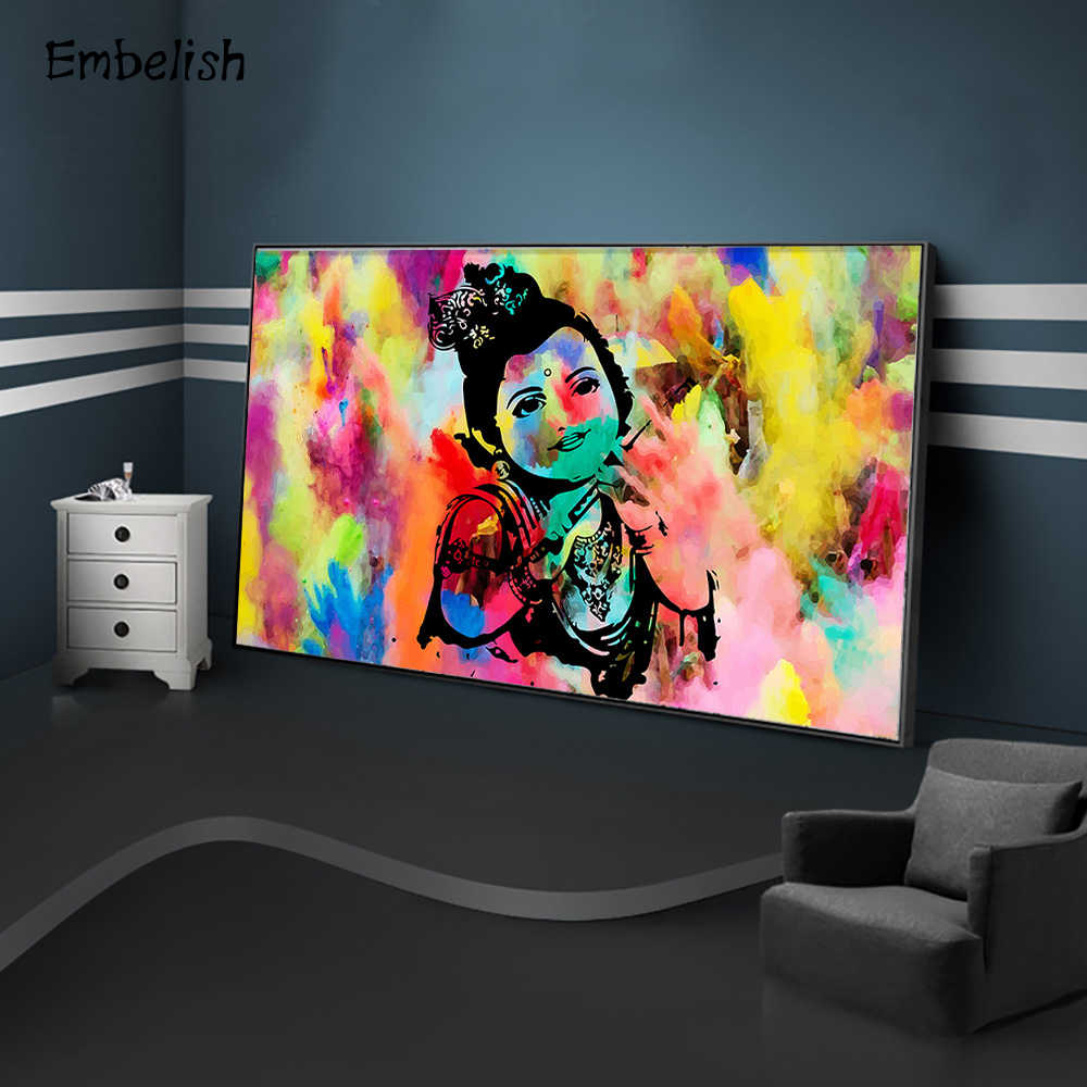 Embelish 1 Pieces Colorful Baby Krishna Buddha Large Wall Art Pictures For Living Room HD Canvas Paintings Bedroom Artworks