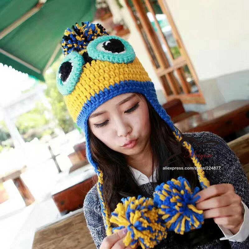 winter warm wool hat Thief Daddy handmade butted cap casual skullies with big ball cartoon minion gorro beanies for women the new children s cubs hat qiu dong with cartoon animals knitting wool cap and pile