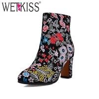 Wetkiss/Большие размеры 34–43 корова замши с вышивкой женские зимние ботинки этнические Стиль цветочный На высоких толстых каблуках ботильоны ж...