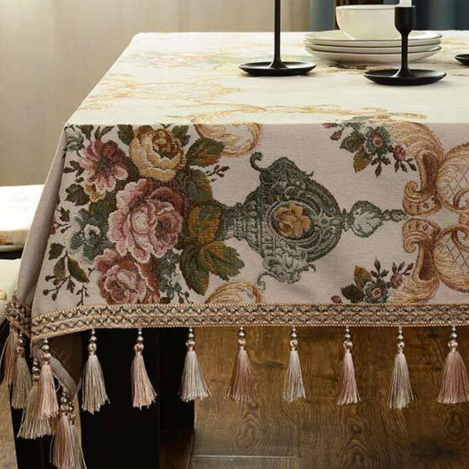 Chenille Jacquard Tablecloth Rectangle Round Tassel European Coffee Table Cover