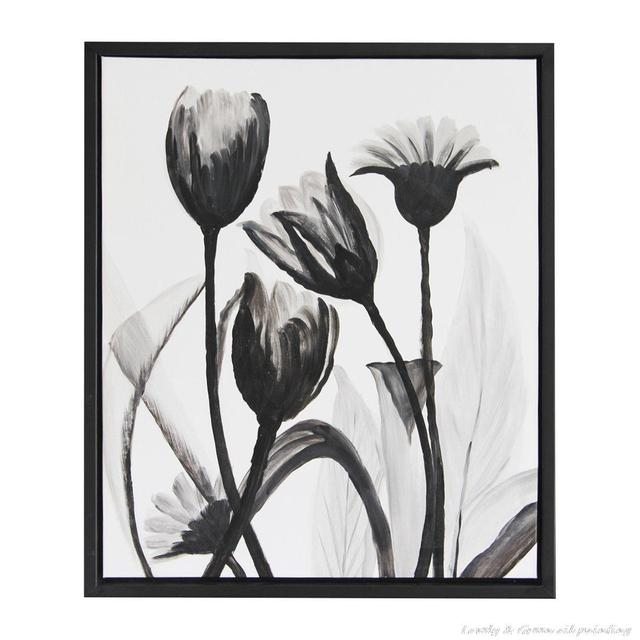Black white flower oil painting on canvas modern tulipa gesneriana wall art for home decor hand