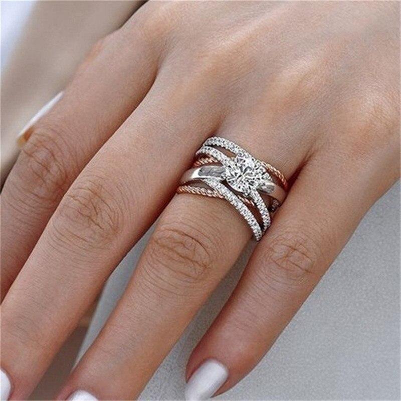 Новинка, кольца из розового золота для женщин, полностью Кристальное обручальное кольцо из Стразы для дам, Женские аксессуары, кольца на палец, ювелирное изделие, подарок - Цвет основного камня: 1