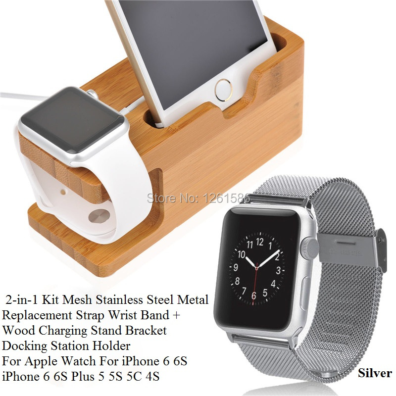 for Apple Watch iPhone Stainless Steel Band+Bamboo Wood Charging Bracket  1