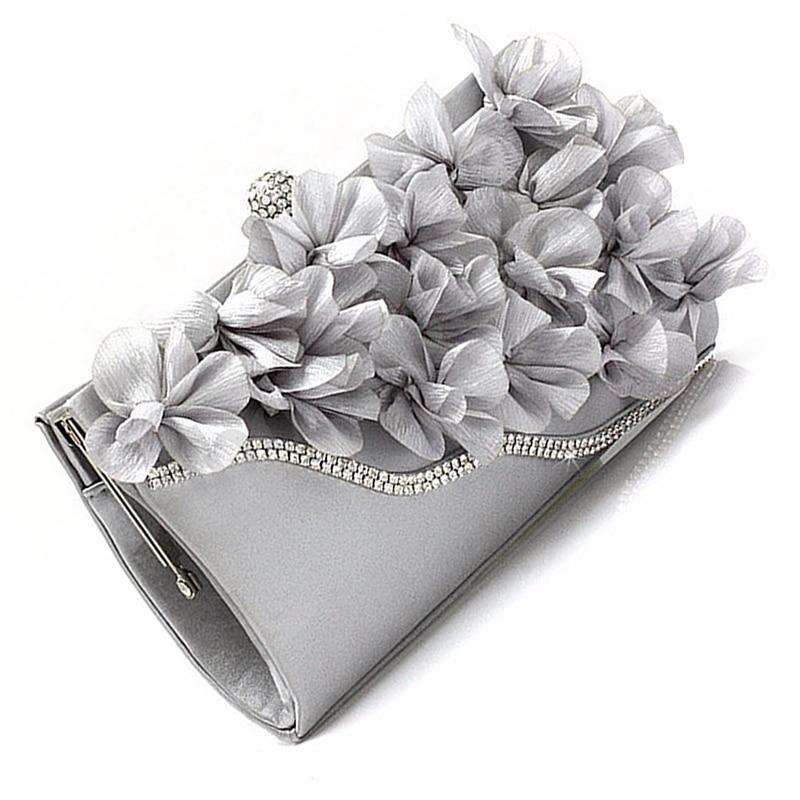 FGGS Hot Lady Satin Clutch Bag Flower Evening Party Wedding Purse Chain Shoulder Handbag 5 Colors