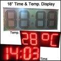 """18 """"красный цвет, светодиодный дисплей для температуры, время, часы, 7 сегмент светодиодные модули, полу-открытый, светодиодные вывески, привело цена на газ"""