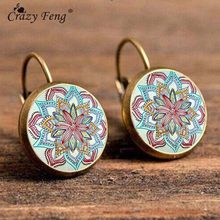 Crazy Feng Boho Flower Drop Earrings For Women Vintage Jewelry Geometric Pattern Round Earings Bijoux boucles d'oreilles bohemia(China)