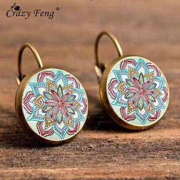 Crazy Feng Boho Flower Drop Earrings For Women Vintage Jewelry Geometric Pattern Round Earings Bijoux boucles d'oreilles bohemia