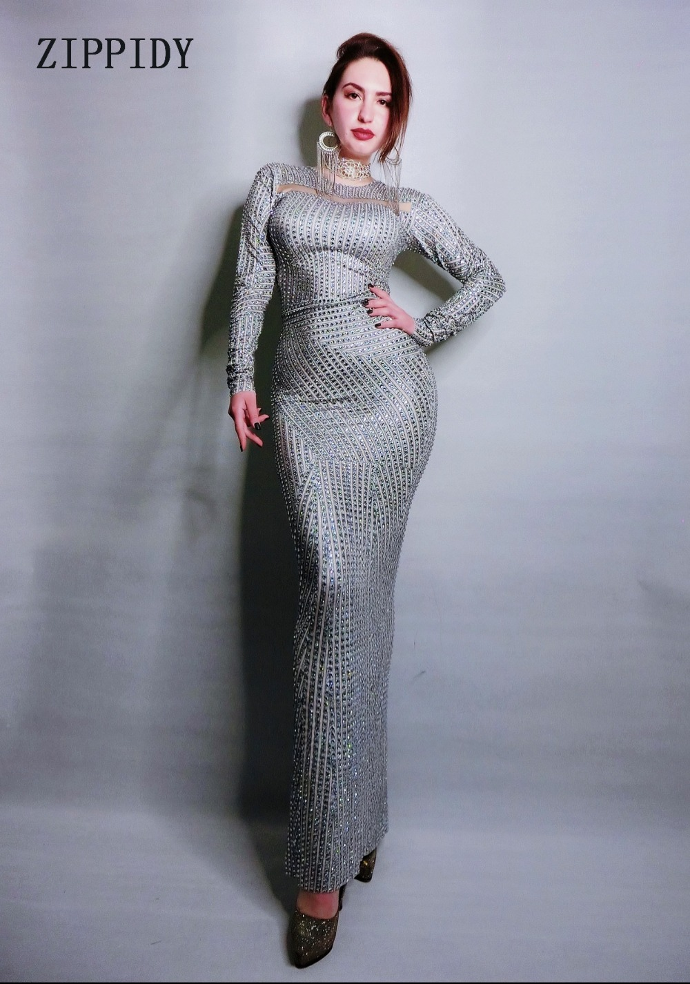 Full Rhinestone Long Sleeves Sparkly Long Dress Sexy Stage Outfit Birthday Party Celebrate Women Dance Dress