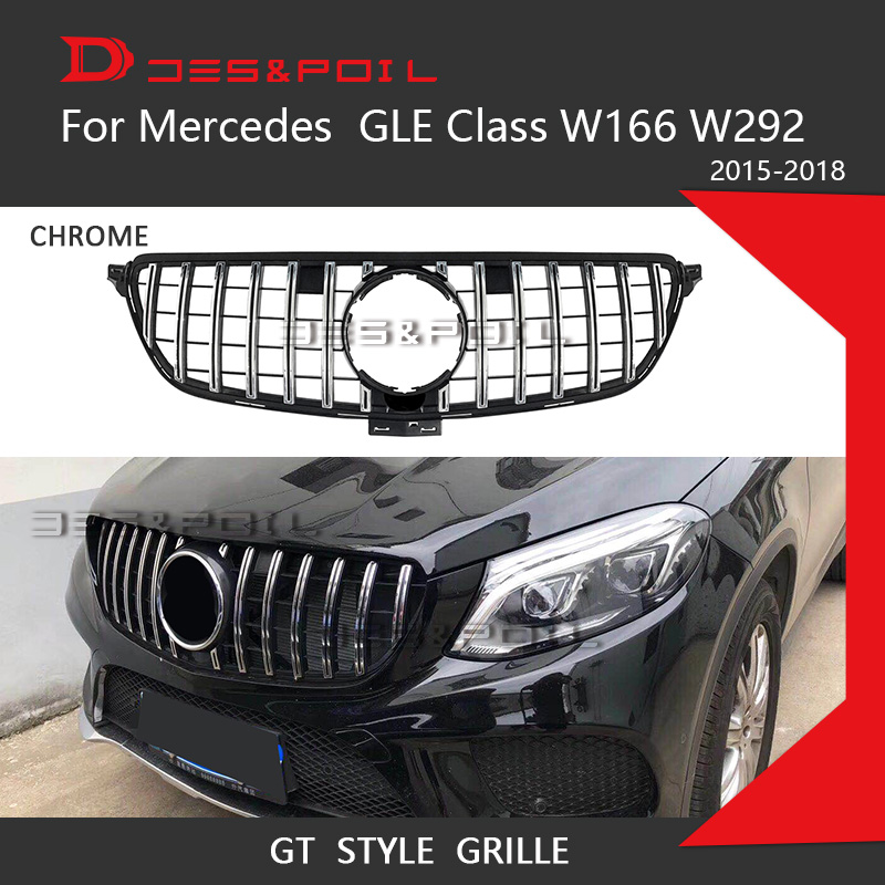 GT R Grille For Mercedes Benz GLE Class W166 W292 Coupe 4Matic SUV Chrome Front Racing Grill 2015-2018 GLE300 GLE320 GLE350 glc coupe решетка радиатора amg