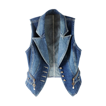 Denim Vest Jeans Jacket Waistcoats Plus-Size Women Sleeveless Short Female Autumn Casual
