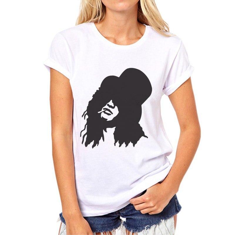 2018 Gun Roses Punk Rock Print T Shirt Spring Summer Silhouette Streetwear Casual Letter T-shirt Women Tees Tops 77N-13# ...