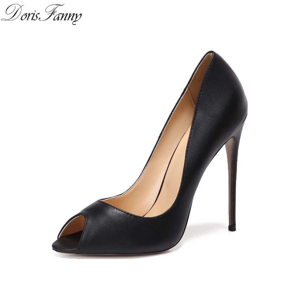 Dorisfanny Peep Toe Black Sexy High Heels Women Genuine -3002