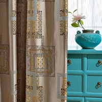 China wind three dimensional curtains Jacquard living room curtains bedroom study pastoral three dimensional grid curtains