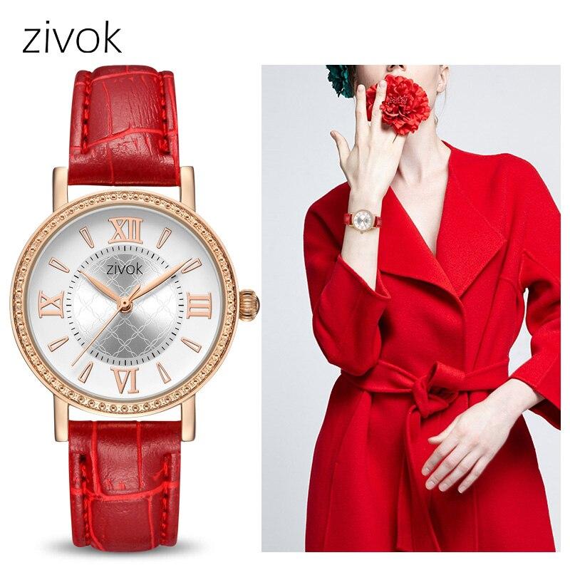 Zivok moda mujer relojes Relogio feminino amantes rojos señoras reloj de cuarzo mujer reloj de los pares muchacha relojes xfcs
