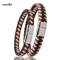 Sauvoo 2017 Women Men Black Red Braided Leather Bracelets Bangles With Stainless Steel Magnetic Clasp Fashion