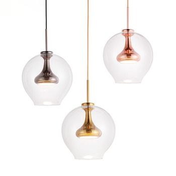 Post Modern Simple Glass Ball Round Chandelier New Designer Nordic Style Restaurant LED Pendant Lamp Art Study Bedroom