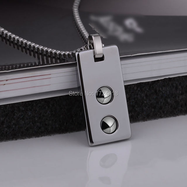 Free Shipping Health Necklace Pendant Tungsten Jewelry Prism Design With Black Magnetic Stone On the Back