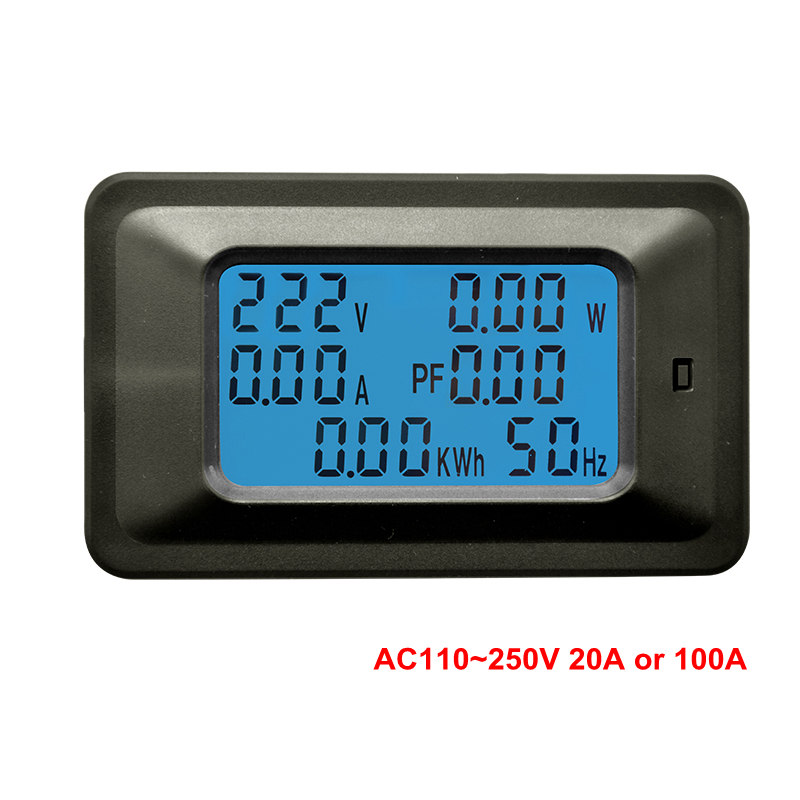 Digital Voltmeter Ammeter AC 110V 220V 20A/100A AC Current Voltage Meter Watt kWh Monitor Power Factor Frequency Energy Meter voltmeter ammeter ac 110v 220v 20a 100a ac current voltage meter watt kwh monitor power factor frequency meter