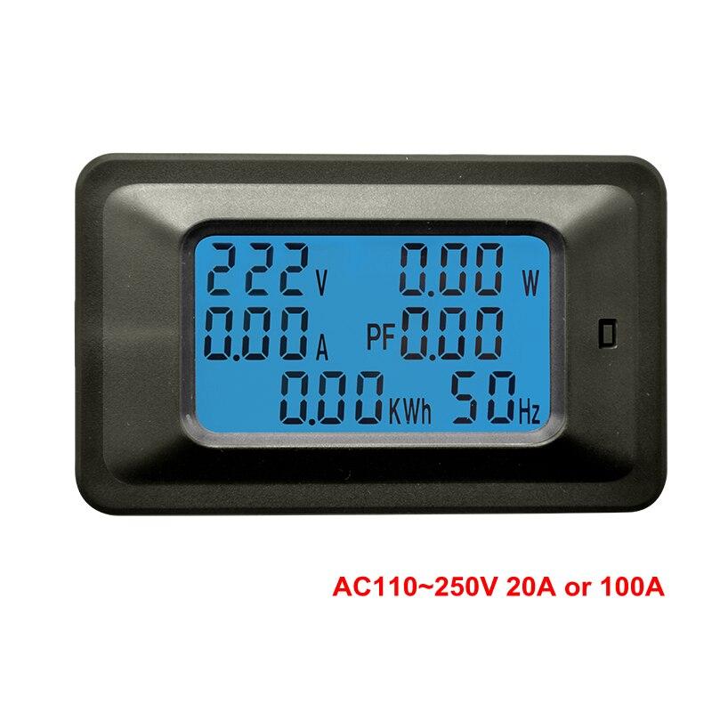 Digital voltímetro amperímetro AC 110 V 220 V 20A/100A corriente AC medidor de voltaje vatios kWh Monitor de Factor de potencia frecuencia de medidor de energía