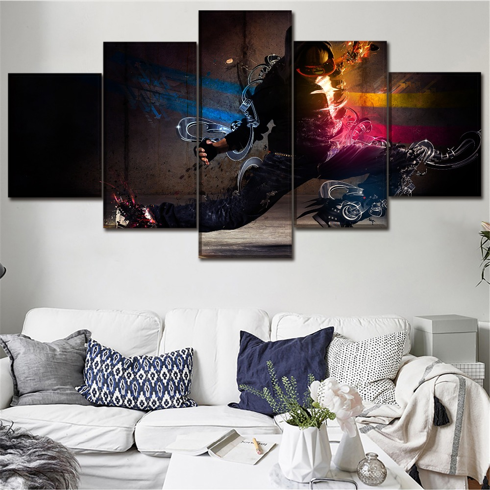 Chambotrade Canvas Print Modular Picture Framework 5 Piece Artistic Abstract Human Painting Home Wall Art Decor Artwork Poster