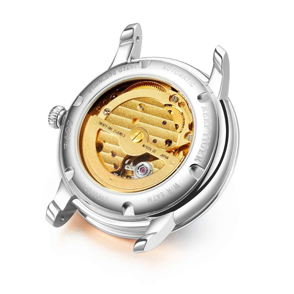 Novo recife tigre/rt moda das mulheres relógios azul dial relógios de aço inoxidável para o amante diamantes senhoras relógios rga1550