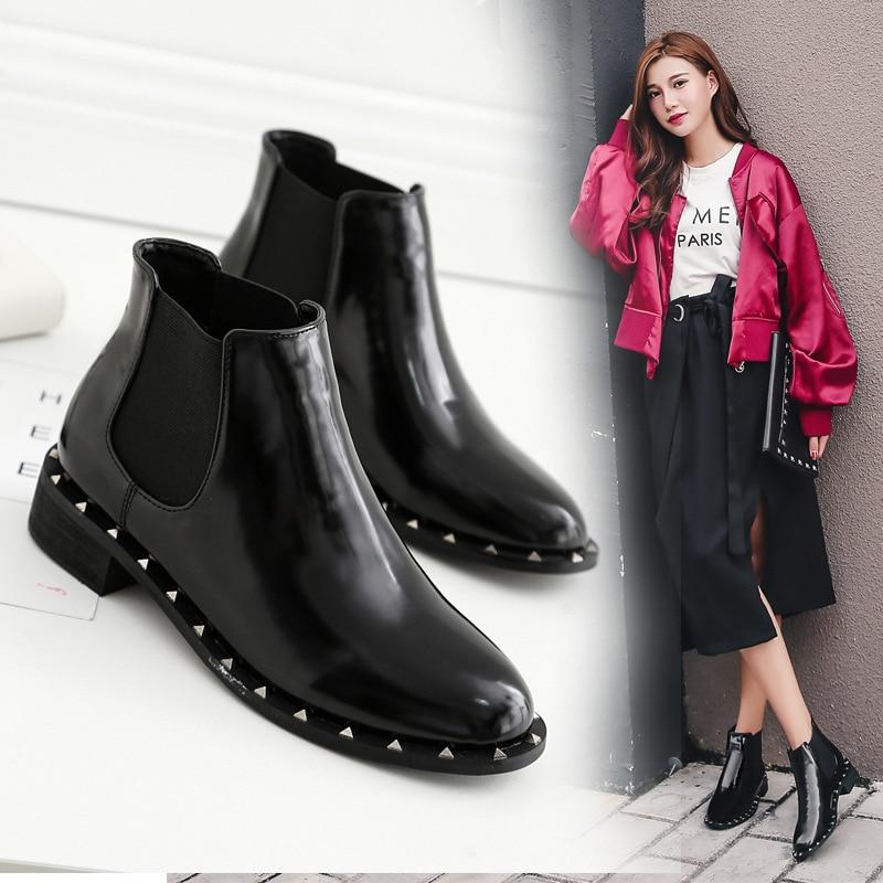 8a84eec88519f0 Talons Décorer Chaussures Femmes Bottes Dames Mature Microfibre  Appartements Goujons Noir Botas Mujer Femme Fond Solide ...