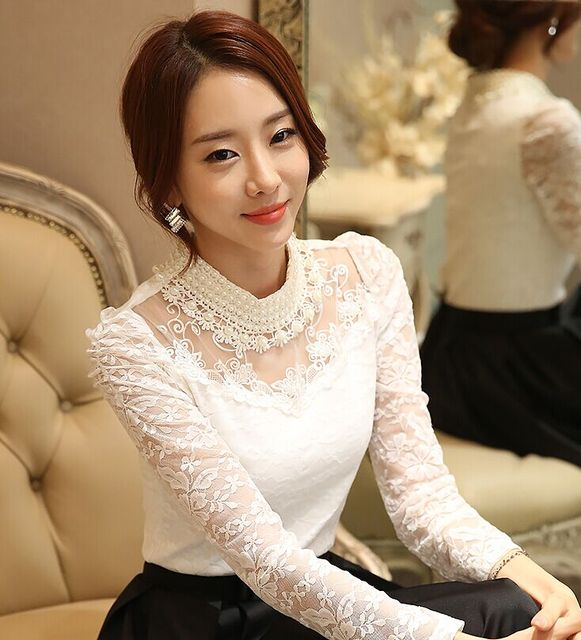 Dingaozlz elegant long sleeve bodysuit beaded Women lace blouse shirts crochet tops blusas Mesh Chiffon blouse female clothing 8