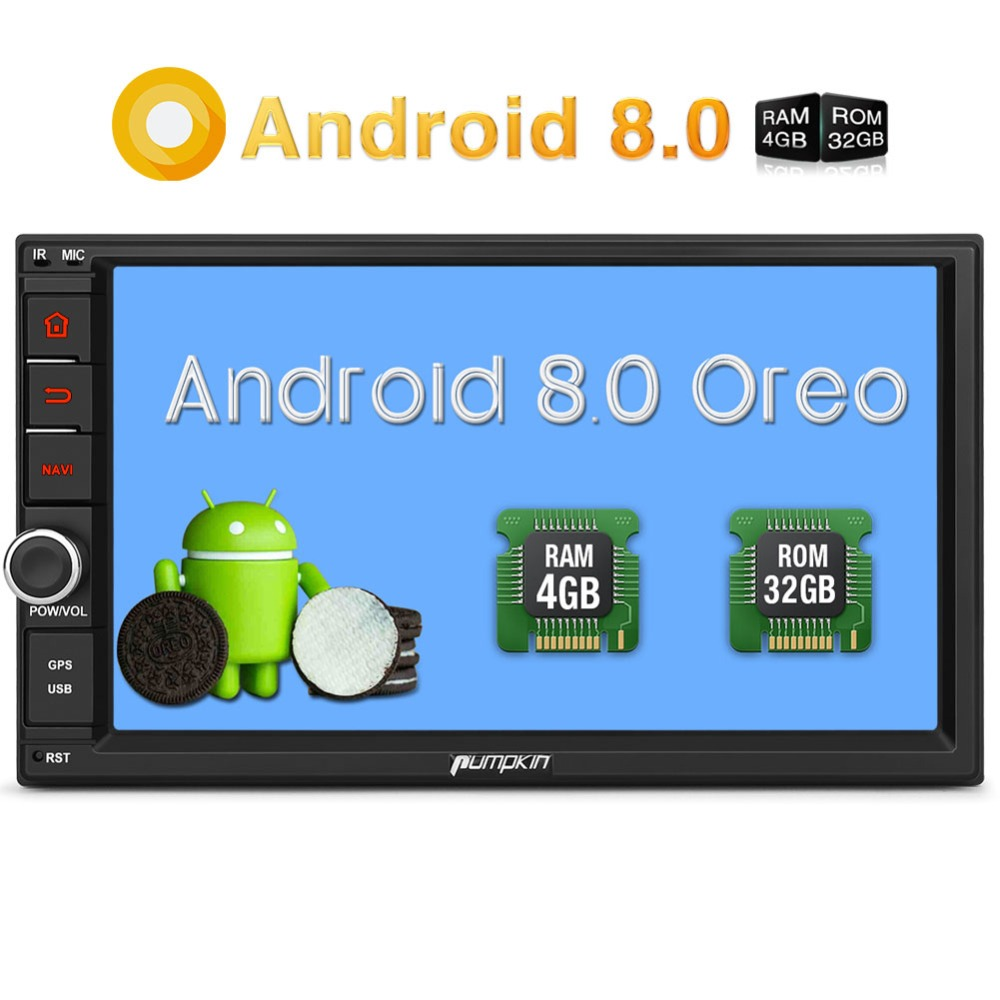Pumpkin 2 Din 7'' Android 8.0 Universal GPS Car Radio No DVD Player 4G RAM 32G ROM Car Stereo Audio Wifi 4G Fast Boot Headunit