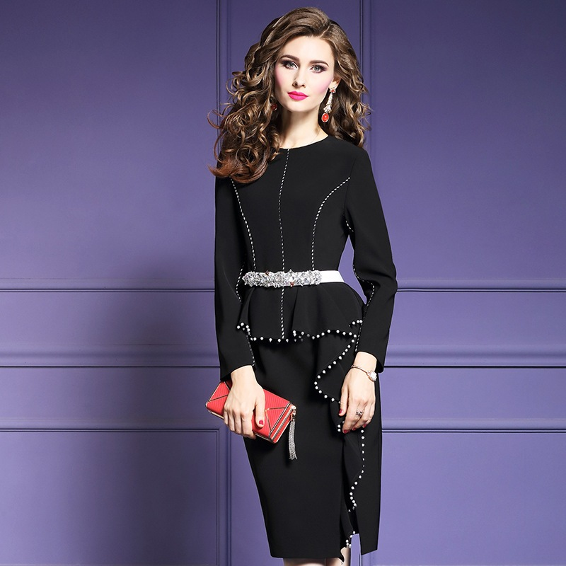 Beading Pencil dress Spring 2018 new Superior quality work Women office sexy Party Dress s 3xl
