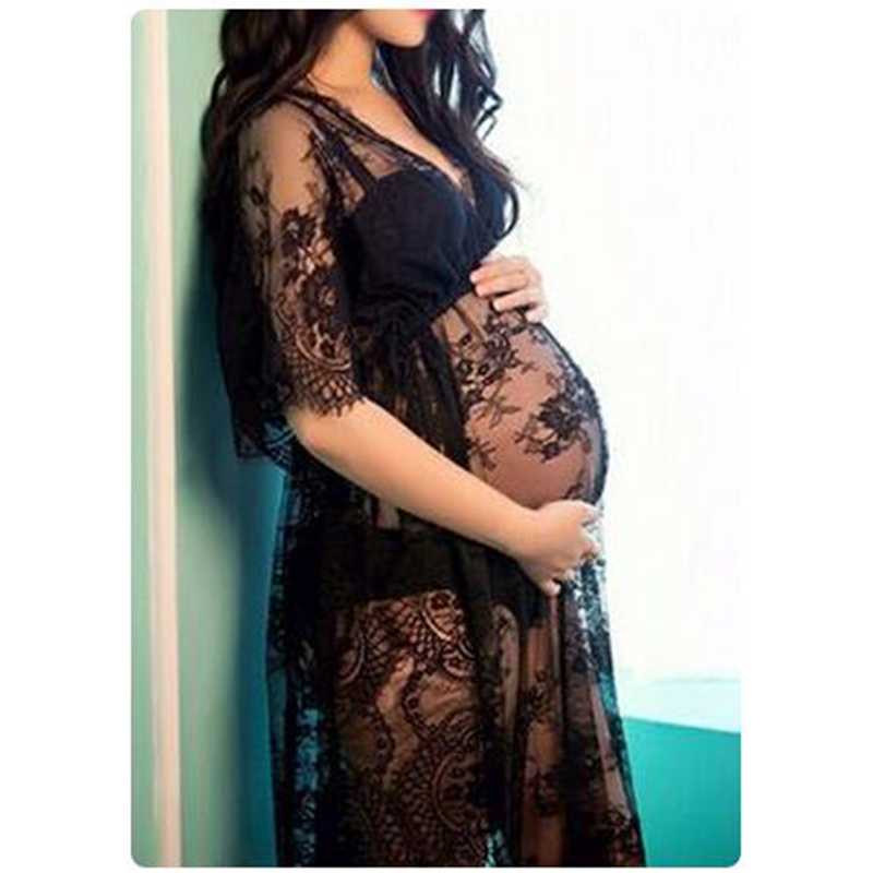 Maternity Gown For Photo Shoot Black Lace  V-Neck Ankle-Length Maybe Not Fully Naked Like This But Still Elegant a kiss like this