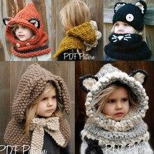 Niños Accesorios zorro sombrero chal Otoño Invierno de punto de lana cap  bufanda chal bebé niños niño capa con capucha sombrero . e33ae9b9d88