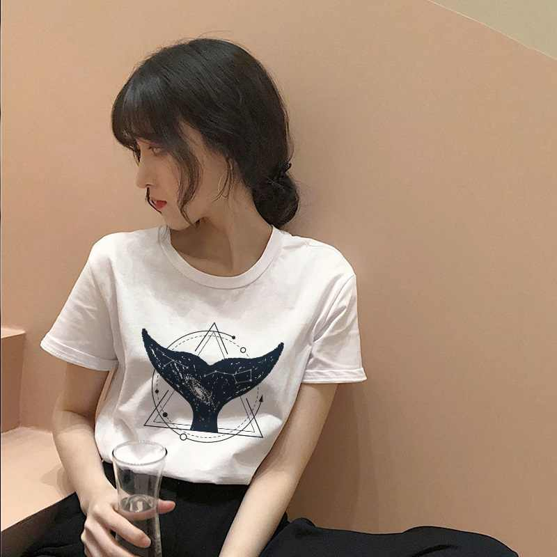 Cosmic belief Harajuku summer women's new ins fashion cartoon printed letter short-sleeved casual T-shirt shirt S-2XL